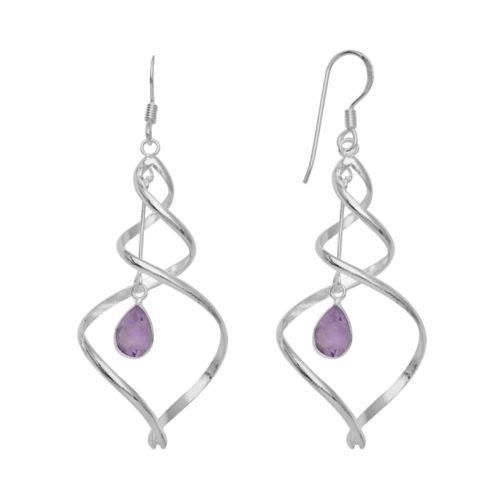 Silver Plated Amethyst Spiral Drop Earrings