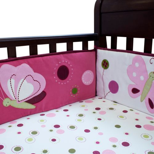 Lambs and Ivy Raspberry Swirl Crib Sheet