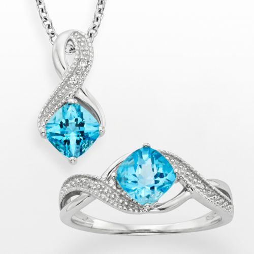 Sterling Silver Blue Topaz and Diamond Accent Ribbon Pendant and Ring Set
