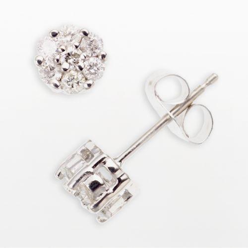 10k White Gold 1/4-ct. T.W. Diamond Cluster Stud Earrings