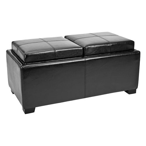 safavieh harrison double tray storage ottoman. Black Bedroom Furniture Sets. Home Design Ideas