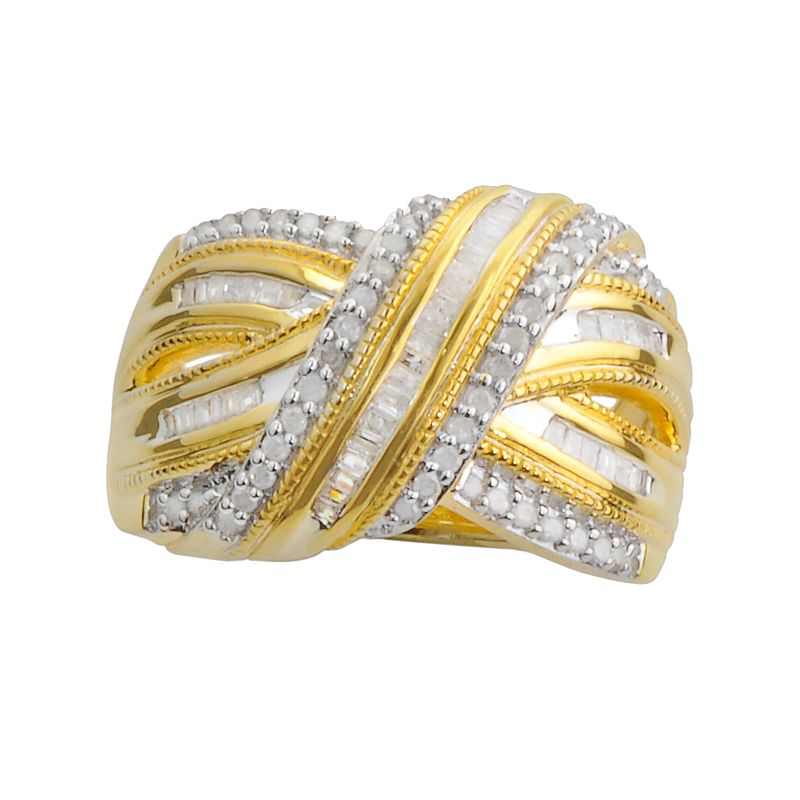 18k Gold Over Silver 1/2-ct. T.W. Diamond Twist Multirow Ring