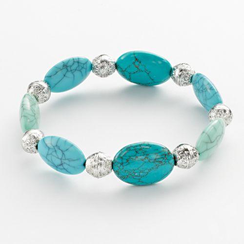 Chaps Silver Tone Bead Stretch Bracelet