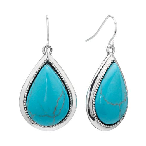 Chaps Silver Tone Teardrop Earrings