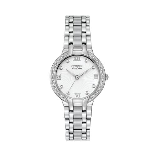 Citizen Eco-Drive Bella Stainless Steel Diamond Accent Watch - EM0120-58A - Women