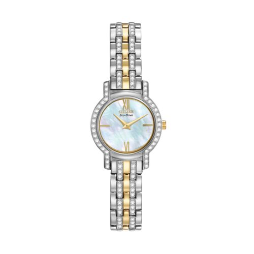 Citizen Eco-Drive Silhouette Two Tone Stainless Steel Crystal and Mother-of-Pearl Watch - EX1244-51D - Made with Swarovski Elements - Women