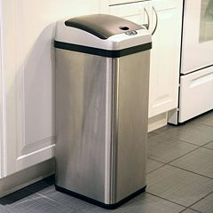 Click here to buy iTouchless 13-Gallon Extra Wide Stainless Steel Automatic Sensor Touchless Trash Can.