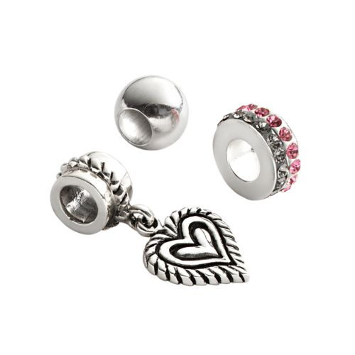 Individuality Beads Sterling Silver Crystal Spacer, Round Spacer and Heart Charm Bead Set