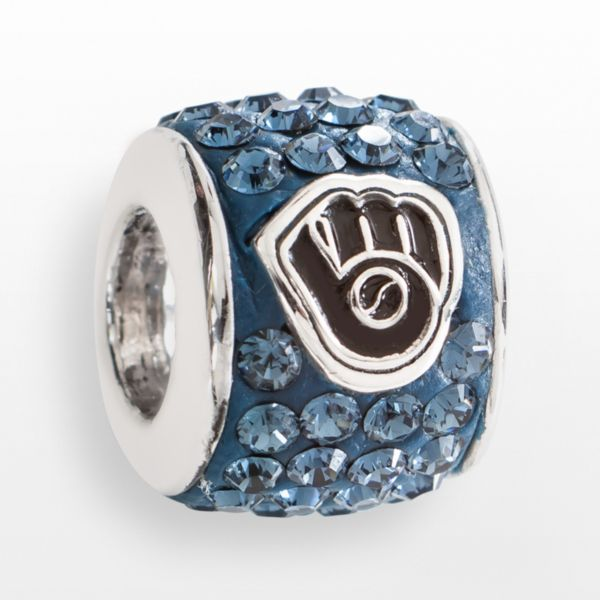 LogoArt Milwaukee Brewers Sterling Silver Crystal Logo Bead - Made with Swarovski Crystals