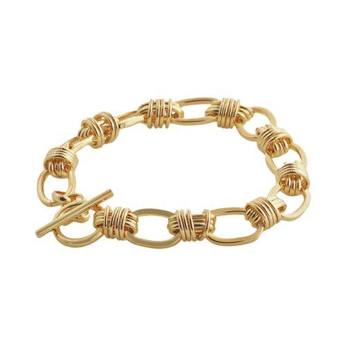 Elegante 18k Gold Over Brass Oval Link Toggle Bracelet