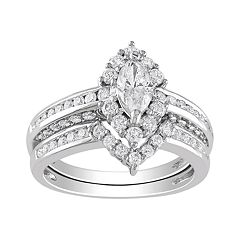 Marquise-Cut IGL Certified Diamond Engagement Ring Set in 14k White Gold (1 4/9 ct. T.W.) by