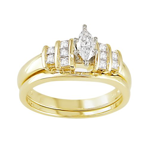 Marquise-Cut IGL Certified Diamond Engagement Ring Set in 14k Gold Two Tone (1/2 ct. T.W.)