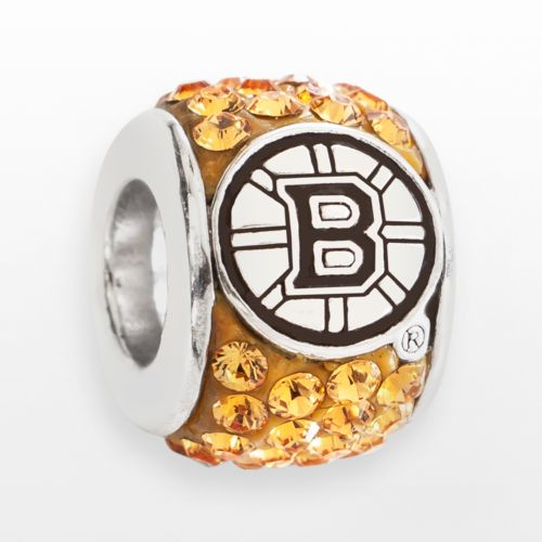 LogoArt Boston Bruins Sterling Silver Crystal Logo Bead - Made with Swarovski Elements