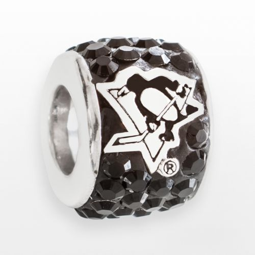 LogoArt Pittsburgh Penguins Sterling Silver Crystal Logo Bead - Made with Swarovski Elements