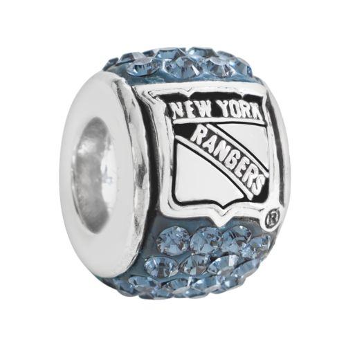 LogoArt New York Rangers Sterling Silver Crystal Logo Bead - Made with Swarovski Elements