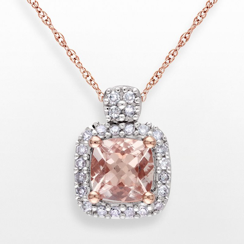 10k Rose Gold 1/10-ct. T.W. Diamond and Morganite Pendant