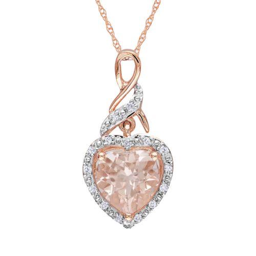10k Rose Gold Morganite and Diamond Accent Heart Pendant