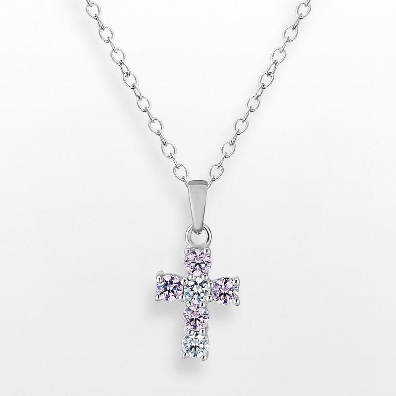 Sunstone 925 Sterling Silver Cross Pendant - Made with Swarovski Cubic Zirconia