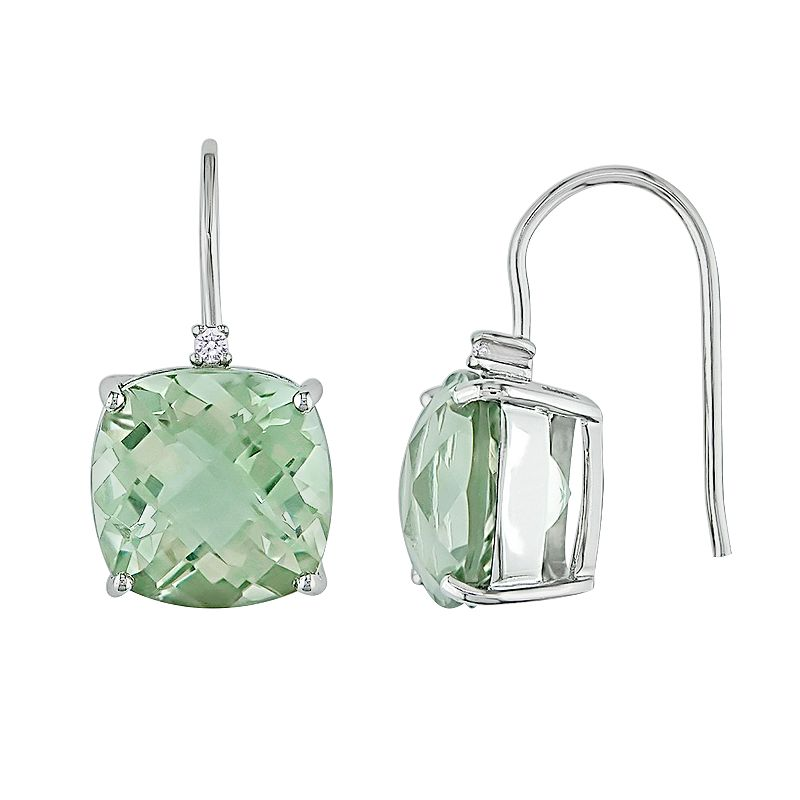 10k White Gold Green Quartz and Diamond Accent Drop Earrings