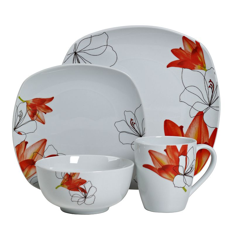 Tabletops Gallery Lily 16-pc. Square Dinnerware Set