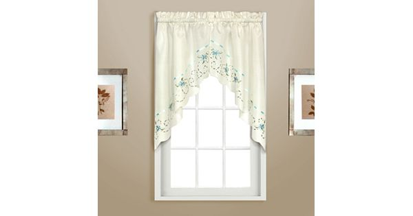 united curtain co. rachael embroidered swag curtain pair