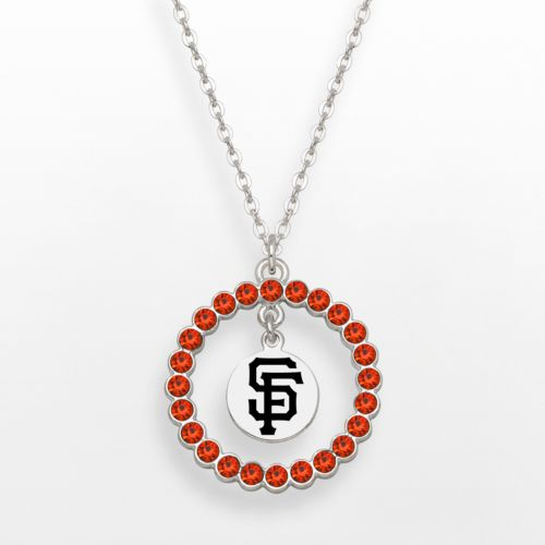 LogoArt San Francisco Giants Silver Tone Crystal Logo Charm Circle Pendant