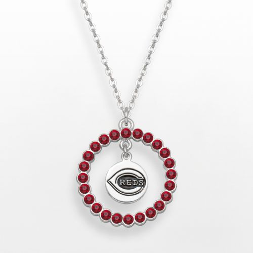 LogoArt Cincinnati Reds Silver Tone Crystal Logo Charm Circle Pendant