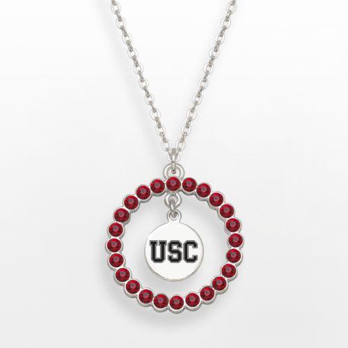 LogoArt USC Trojans Silver Tone Crystal Logo Charm Circle Pendant