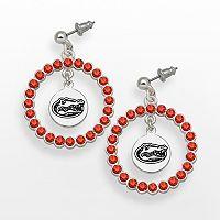 LogoArt Florida Gators Silver Tone Crystal Logo Charm Hoop Drop Earrings