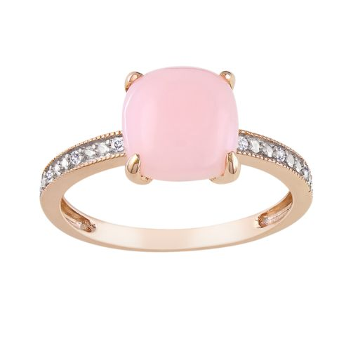 10k Rose Gold Pink Opal and Diamond Accent Ring