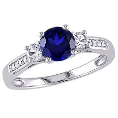 10k White Gold Lab-Created Blue & White Sapphire & Diamond Accent 3-Stone Ring by