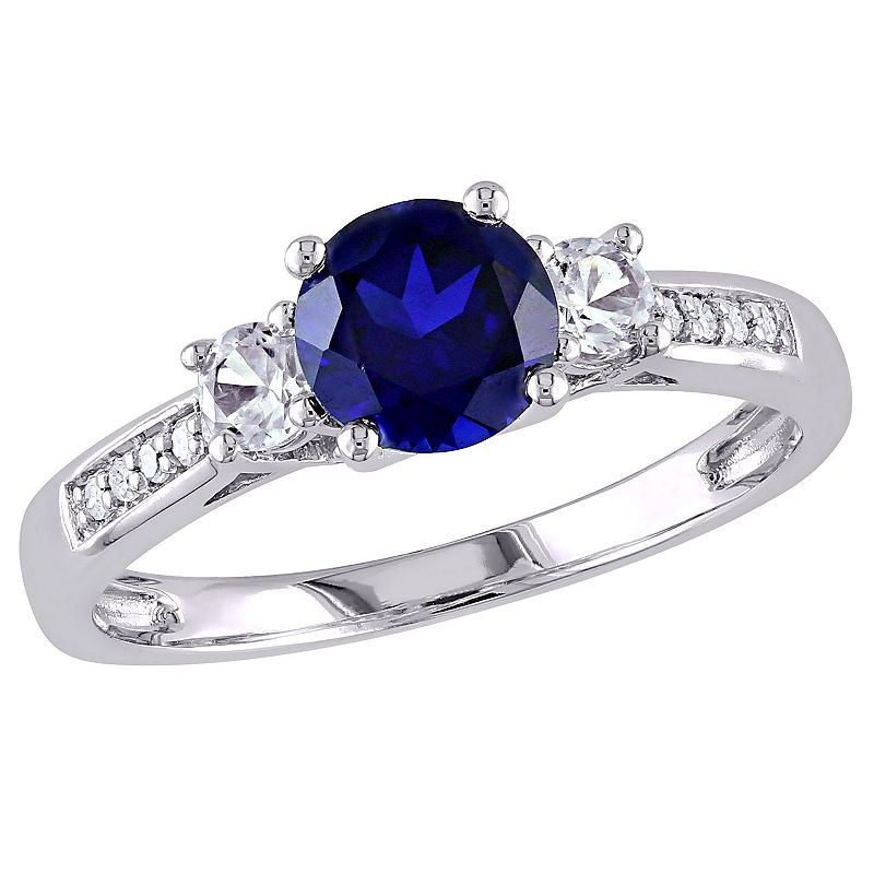 10k White Gold Lab-Created Blue and White Sapphire and Diamond Accent 3-Stone Ring