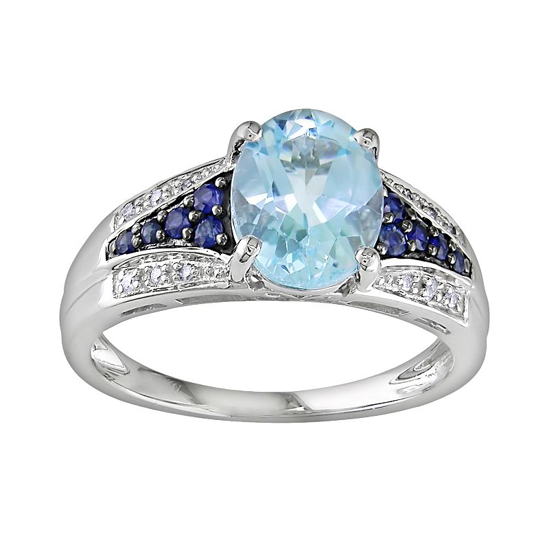 10k White Gold Blue Topaz, Sapphire and Diamond Accent Ring
