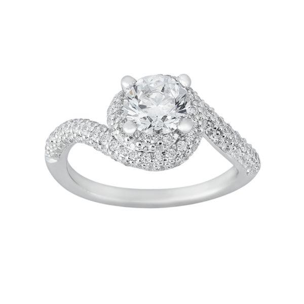Cherish Always Round-Cut Diamond Swirl Engagement Ring in 14k White Gold (1 1/2 ct. T.W.)