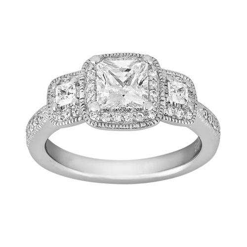 Cherish Always Princess-Cut Diamond Engagement Ring in 14k White Gold (1 1/3 ct. T.W.)