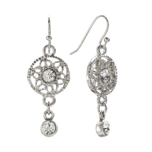 1928 Silver Tone Crystal Filigree Drop Earrings