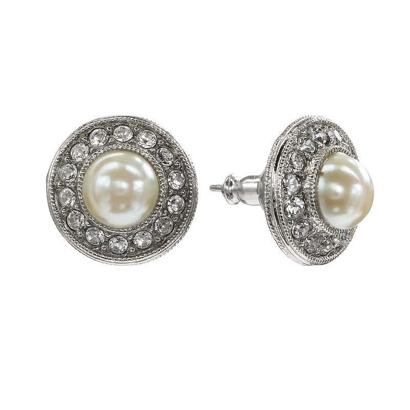 1928 Silver Tone Crystal and Simulated Pearl Button Stud Earrings