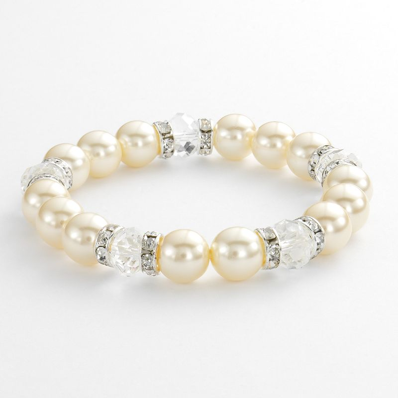1928 Silver Tone Crystal and Simulated Pearl Stretch Bracelet