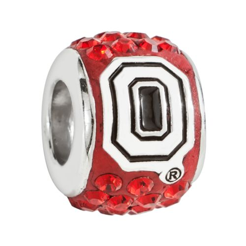 LogoArt Ohio State Buckeyes Sterling Silver Crystal Logo Bead - Made with Swarovski Elements