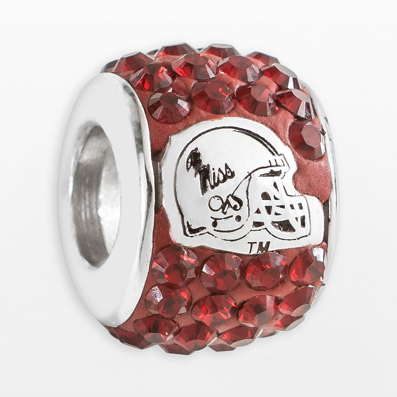 LogoArt Ole Miss Rebels Sterling Silver Crystal Logo Bead - Made with Swarovski Crystals