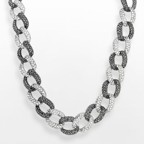 Sterling Silver Marcasite and Simulated Crystal Oval Link Necklace