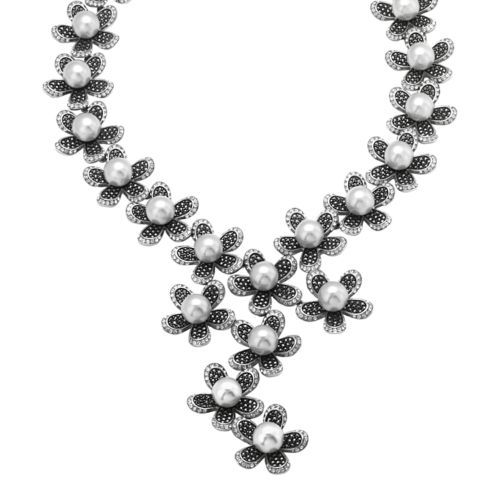 Sterling Silver Marcasite, Simulated Pearl and Simulated Crystal Flower Y Necklace