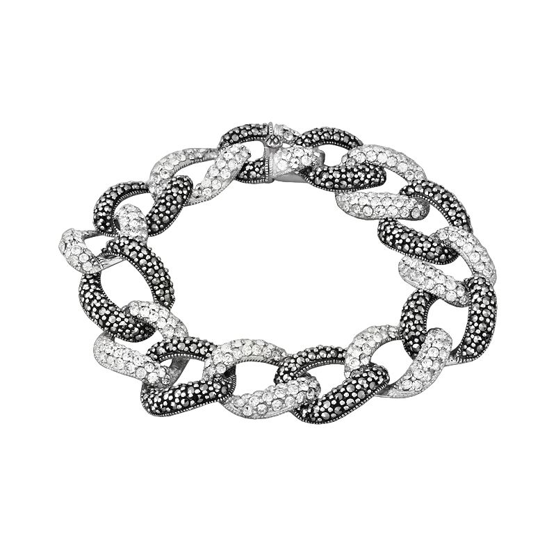 Sterling Silver Marcasite and Simulated Crystal Oval Link Bracelet