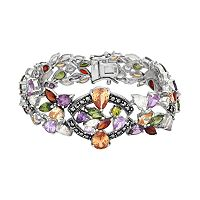 Sterling Silver Cubic Zirconia & Marcasite Bracelet