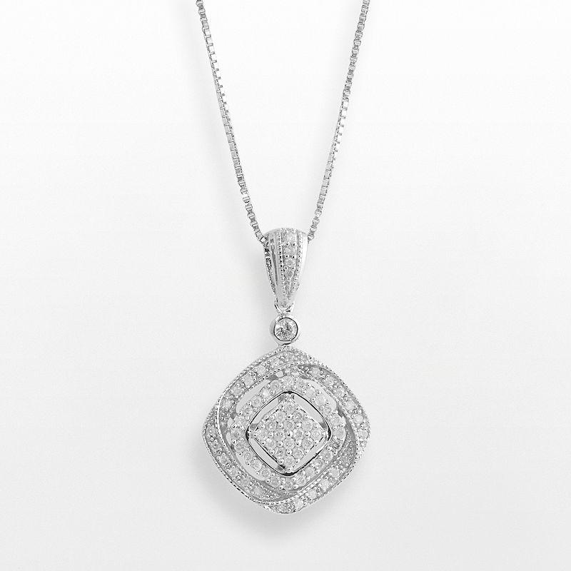 Sterling Silver 1/2-ct. T.W. Diamond Openwork Square Pendant