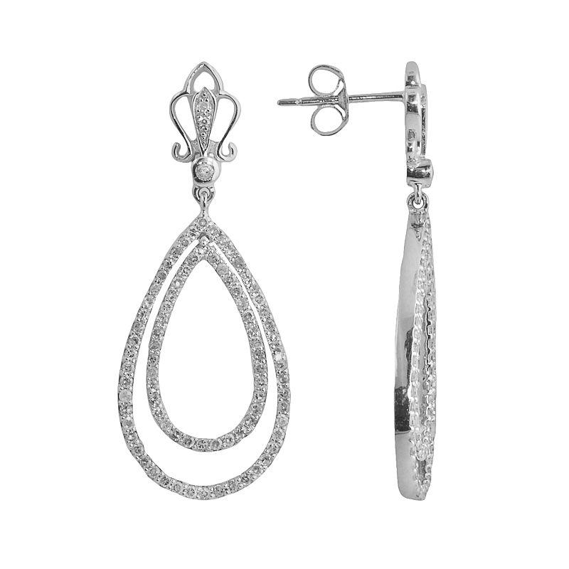 Sterling Silver 1-ct. T.W. Diamond Teardrop Earrings