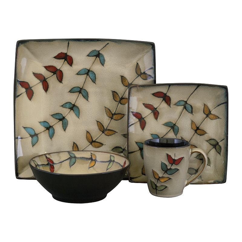 Sango Flora Black 16-pc. Square Dinnerware Set
