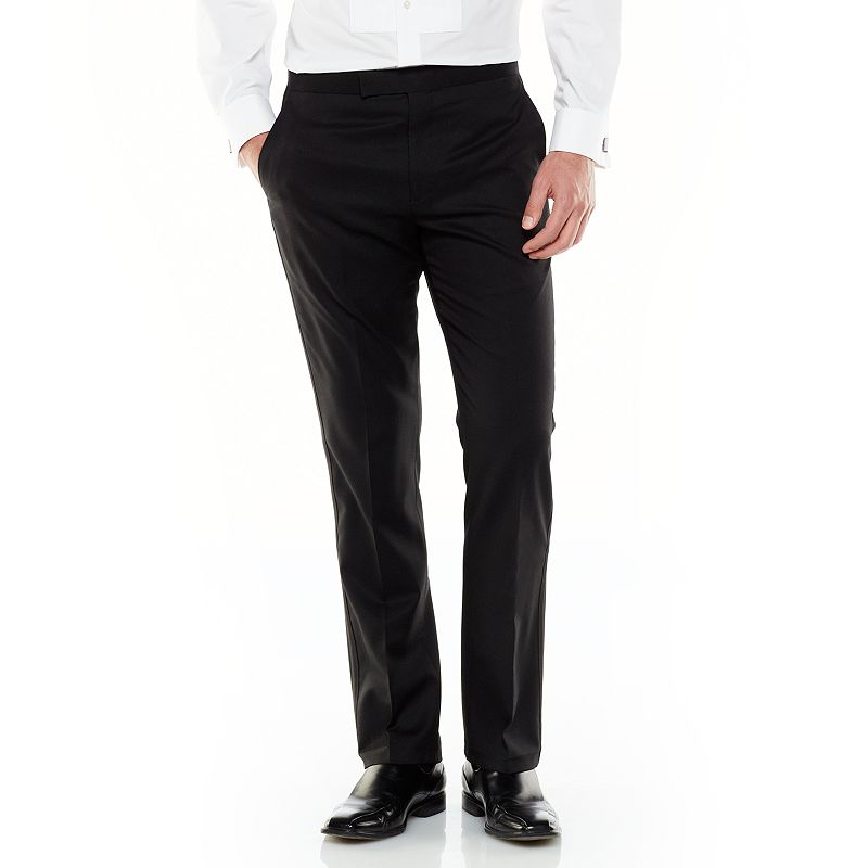Men's Marc Anthony Modern-Fit Flat-Front Wool Black Tuxedo Pants