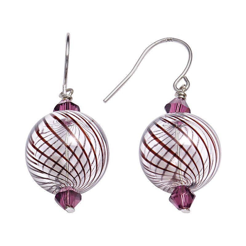 Sterling Silver Crystal Swirl Artisan Glass Drop Earrings