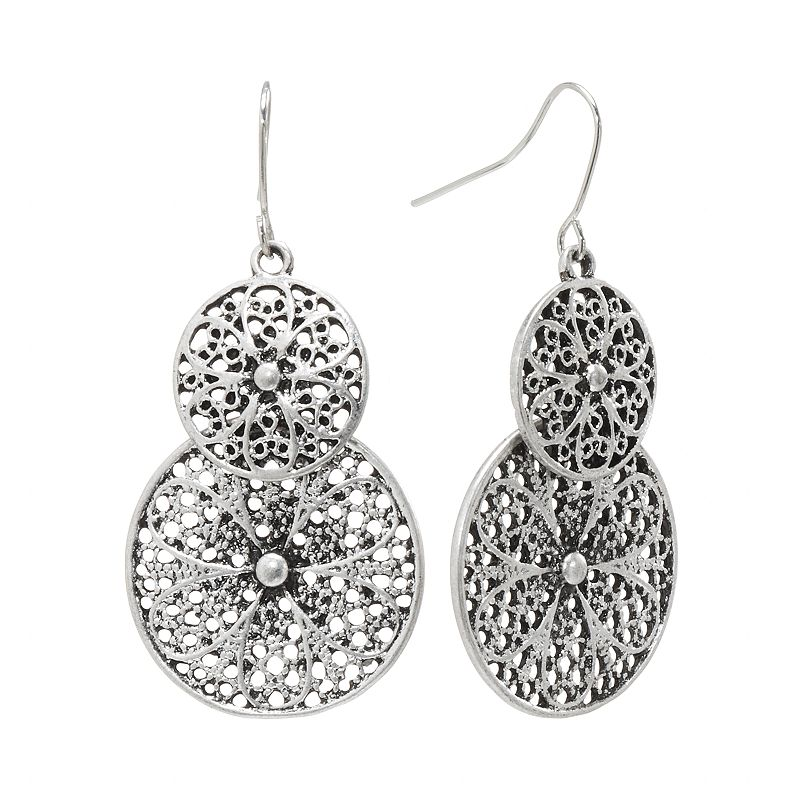 Mudd® Silver Tone Flower Filigree Disc Drop Earrings